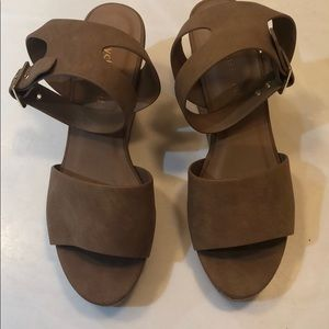 Camel colored wedge sandals